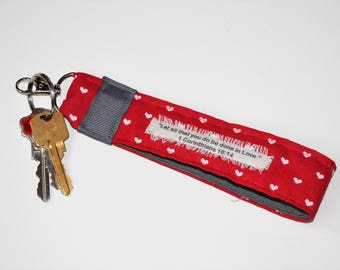 Red Heart Fabric  Bible Verse Key chain with 1 Corinthians 16:14, Love Bible Verse Key Fob, Christian Gift,Valentines Key Chain, Love Keyfob