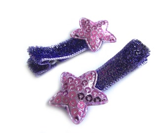 Purple Star Hair Clips Purple Hair Clips Purple Glitter Hair Clips Purple Sequin Hair Clips Baby Hair Clips Baby Girl Hair Clip Toddler Girl