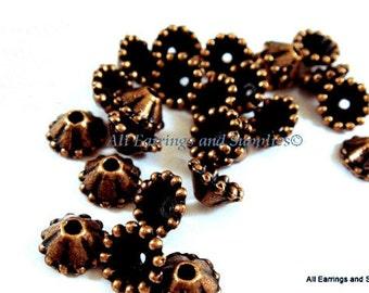 25 Antique Copper Bead Cap Cone Pewter 8x3mm fits 6-11mm Bead - 25 pc - 6012-11