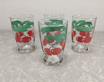 Vintage Tomato Juice Glasses - Set of 4 - Small Juice Glasses - Kitsch Kitchen