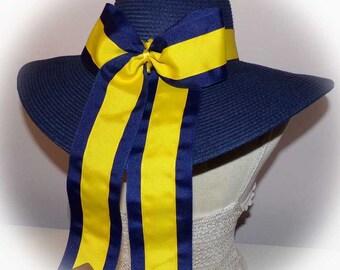 2 Color Monogrammed Cheerleader Bows & Hat Bands fit Floppy Hats Gorgeous, Bride, Wedding, Bridesmaids, Sunbonnet, Derby, Cup Race