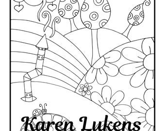 Rainbow Hills, 2 Adult Coloring Book Page, Printable Instant Download, Karen Lukens