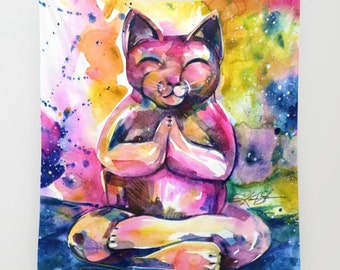 "Buddha Cat Wall Art, Pink Large Wall Tapestry . Original Cat Art ""Buddha Cat 11"" by Kathy Morton Stanion  EBSQ"