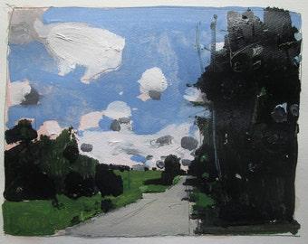 The Edge, Original Acrylic Landscape Painting on Paper, Stooshinoff