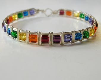 Rainbow Bead Bracelet - Sterling Silver Bangle - Colorful Cube Beads Bracelet - Wirewrapped Bracelet - Silver Bracelet - Gifts For Women