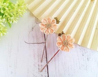 Flower bobby pins, Kanzashi flower hair pins, Bridal hair pins, Gift for her, Prom hair, Japanese silk flowers, Fabric flower hair pins