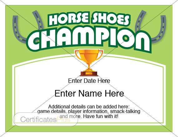 Horse shoes certificate horse shoes champion award award horse shoes certificate horse shoes champion award award template kid certificates friends gift horse shoes set yard games match yadclub Choice Image