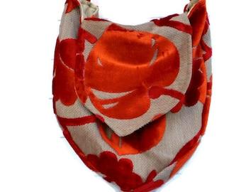 Boho Bag Purse Orange Cut Velvet Slouchy