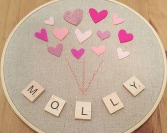 Personalised embroidery hoop wall hanging. Nursery decor.  CHOOSE OWN NAME