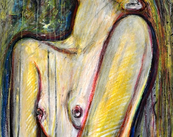 Watercolor erotic nude Woman painting, Danae, FINE ART PRINT, Nude Women paintings, Limited edition contemporary pop art, Alex Solodov