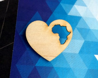 Africa Brooch / South Africa Jewelry / Wooden Jewelry / Wooden Brooch / South Africa Gift / South Africa Art / South Africa Craft / Stocking