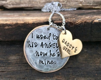 I used to be his angel now he's mine Daddy's Girl Personalized Memorial Necklace Sympathy Gift Sympathy Necklace Hand stamped Jewelry