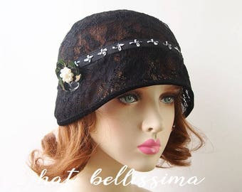 SALE black1920s Cloche Hat  flowers  Lace fabric Vintage Style hat hatbellissima Summer Hats Hats with a Brooch