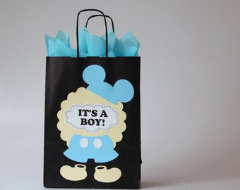 Baby Mickey Mouse Baby Shower Decorations Boy   Inspired Clubhouse Disney  Party Favor Bags Blue Mickey