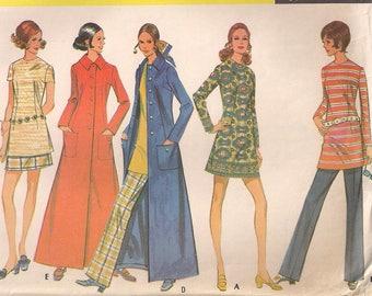 1970 McCalls 2279 Maxi Coat Mini Dress or Skirt Pattern Tunic Top Pants Pattern 70s fashion Size 12 Bust 34