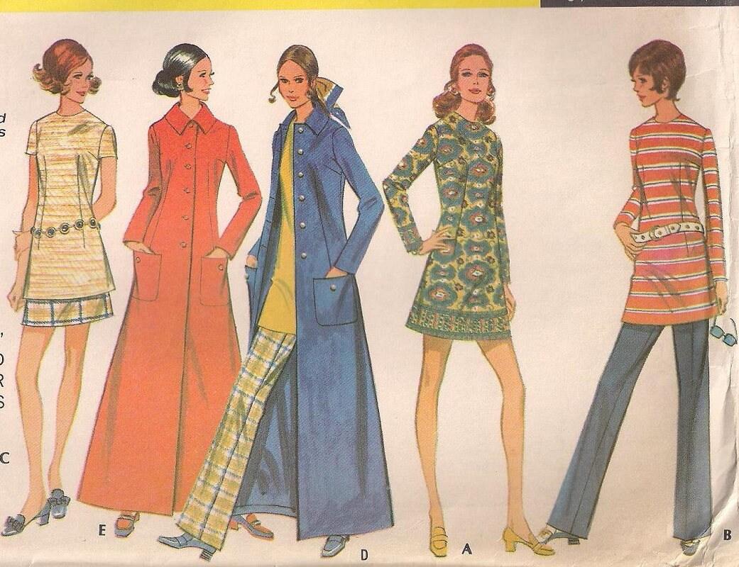 1970 McCalls 2279 Maxi Coat Mini Dress or Skirt Pattern Tunic Top ...