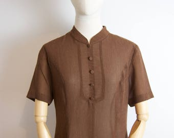 Vintage Brown Long Dress with Mao collar