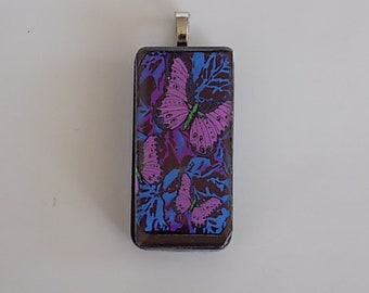 "Butterfly Spring Double Sided Necklace Pendant 1"" x 2 """