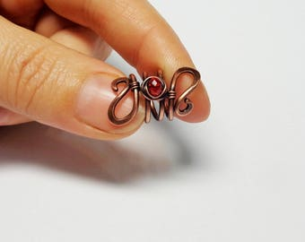 Loc Jewelry, Copper wire Dreadlock Bead with Red Crystal, handmade hair Bead for Dreads or Braids, boho hair jewelry, dreadlock accessories