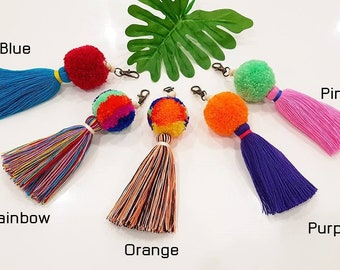 Blue Pom Pom Keychain Charm Purse/Keychain Tassel Bag/Charm Bag Accessories/Boho Keychain/Boho Accessories Handbag/Pom Pom Bag Accessories