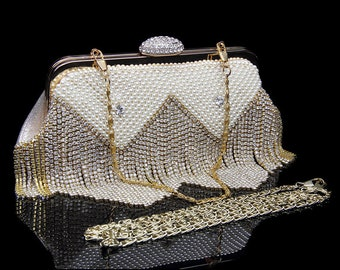 Triangle Pattern Pearl and Diamond Clutch Fringe Glitter Sparkle detail mini evening bag Minaudiere purse