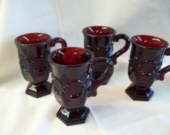 1876 Cape Cod Glass Mugs By Avon - Set of 4