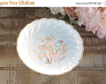 ON SALE Vintage French Cottage Style Limoges Compote Petit Fours Cake Stand Soap Dish, Pedestal Candy Dish