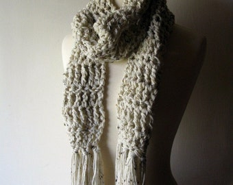 Porch Swing Scarf in Oatmeal Beige with Fringe