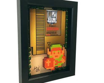 Legend of Zelda Link Video Game Art Nintendo 3D Art 1980s Print Artwork