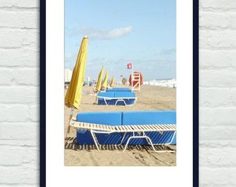 Coastal wall art, beach photo print, Virginia Beach scene, colorful beach decor, blue yellow seashore vertical wall art, umbrellas chairs