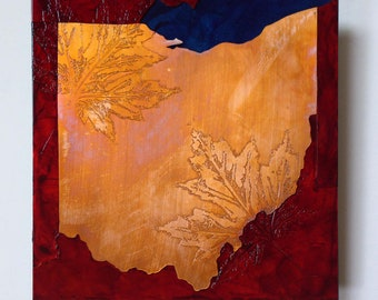 Copper Map Art of Ohio, Ohio map art, metal wall art, map artwork of Ohio 8x8 inches