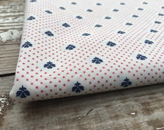 Patriotic Floral Fabric-Reclaimed Bed Linens Fabric