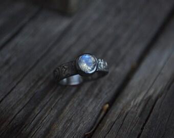 Rainbow Moonstone Ring, Moonstone, Sterling Silver, Rustic Moonstone, Engagement