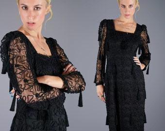 Louis Feraud Tassel Dress Black Sheer Soutache Gown Dress Avant Garde 80s Vintage Dress