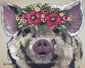 Cute Pig art, cute pig art print, pig with flowers print. Farmhouse pig art, pig with Flower Crown art, cute pig nursery art, kitchen art