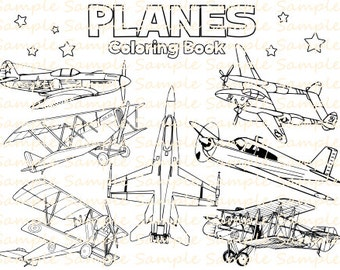 Plane Coloring Book Printable Airplane Pages Vintage Planes Aeroplanes Bithday Party Supplies Printables Fun Digital Download PDF