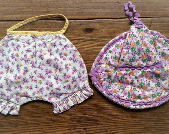 Hat & Bloomers, 2 Pot Holders Vintage 1920s cotton calico lavender prints, kitchen wall decor
