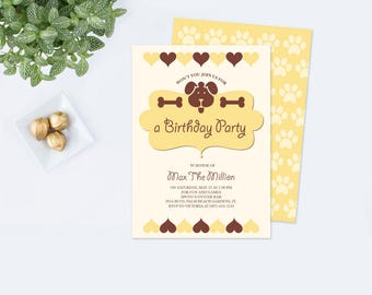 Dog Birthday Party Invitation, Dog Birthday, Puppy Party Invitation, Dog Party, Dog Birthday Invite Editable Text Acrobat Reader Template,