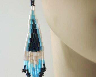 Beaded Tassel Earrings - Beaded Earrings - Blue Earrings - Seed Bead Earrings - Gold Earrings - White Earrings - handmade jewelry