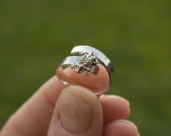 Lizard ring   sterling silver ring   adjustable ring   wide band   unique ring   nature jewelry   animal ring   horned lizard   simple ring
