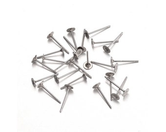 Stainless steel earring post hypoallergenic 12mm x 4mm stud earrings
