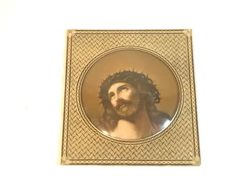 Antique Bubble Glass Framed Jesus Christ Crown of Thorns Lithograph