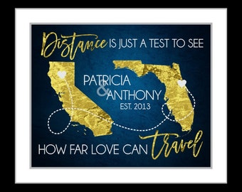Custom Long Distance Relationship Map Gift, Personalized Love Quote For Boyfriend Girlfriend Deployment Print Wall Art Print