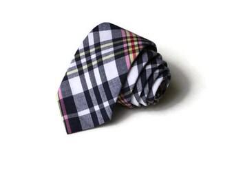 Navy Plaid Necktie~Anniversary Gift~Wedding Tie~Mens Gift~Boys Necktie~Mens Necktie~Preppy Gift~Navy Pink Tie