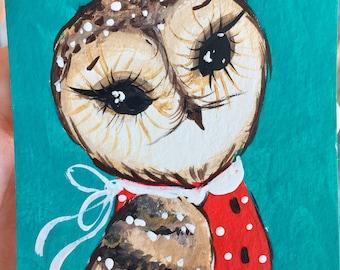 Owl original acrylic painting Aceo artist trading card mini painting mini art