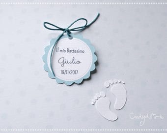 Baptism Tag-Birth tag-Gift tags-label favors-feet-blue