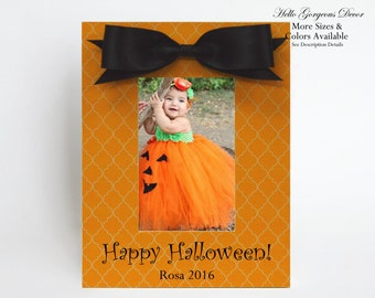 Baby Halloween Picture Frame Gift Personalized Halloween Decoration Decor Fall Happy Halloween Gift to Baby Grandparents New Parents Photo