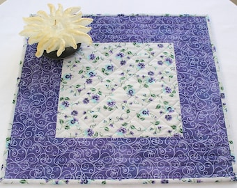 Quilted Table Topper, Purple Pansies, Candle Mat, Floral Table Quilt, Table Runner, Quiltsy Handmade