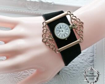 Steampunk vintage cuff-Steampunk jewelry-vintage cuff-gothic watch cuff-velvet cuff