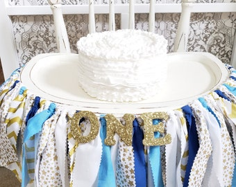 Blue Twinkle Twinkle Little Star Highchair Banner - Boy's 1st Birthday Party - Blue and Gold - Smash Cake Session Prop - Golden Birthday